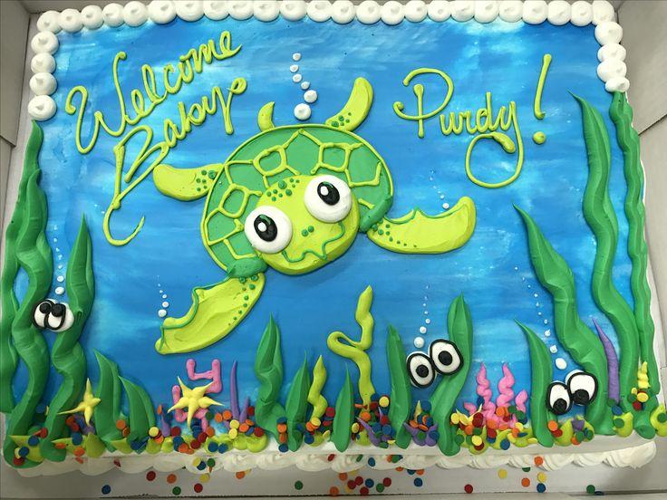 Tier Beach Wedding Cake With Sea Turtles