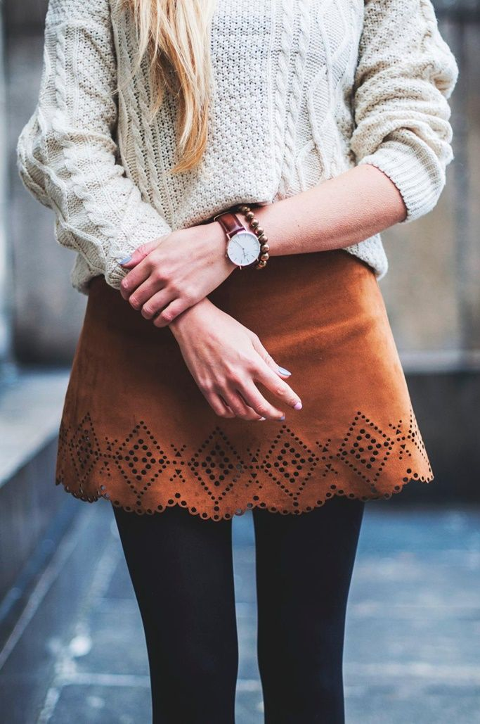 white sweater + camel leather skirt