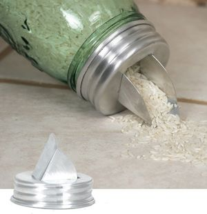 mason jar aluminum grain dispenser lid $4.25 - great for rice, beans and other staples.