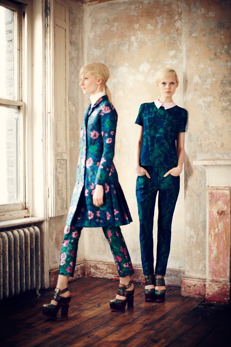 Stephanie Hall and Steffi Soede for Erdem (Pre-Fall 2013.)  Tailored shantung trousers of dark aqua and tulle pink.  Blue on blue short sleeve top with cigarette trouser.