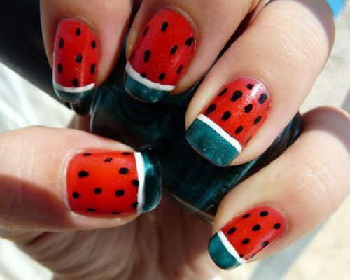 so awesome.: Nails Art, Barbeque Party, Nailart, French Manicures, Summer Parties, Summer Barbeque, Summer Fun, Barbeque Parties, Watermelon Nails