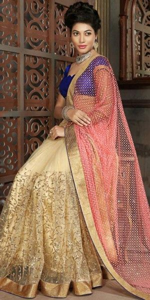 Attractive Looking Net Beige And Pink Ethnic Saree.