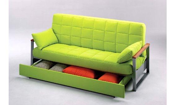 Sofa cama tres plazas con un caj n sofa cama tapizado en for Sofa exterior tres plazas