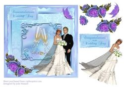 Wedding Day card with decoupage roses  bride   groom  champagne flutes   butterfly on Craftsuprint - View Now!