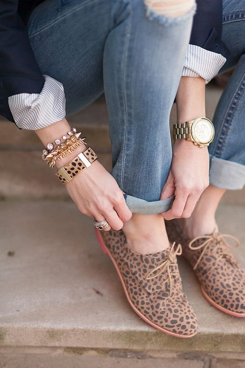How to Wear Oxfords - Not a fan of the animal print, but I love this style.