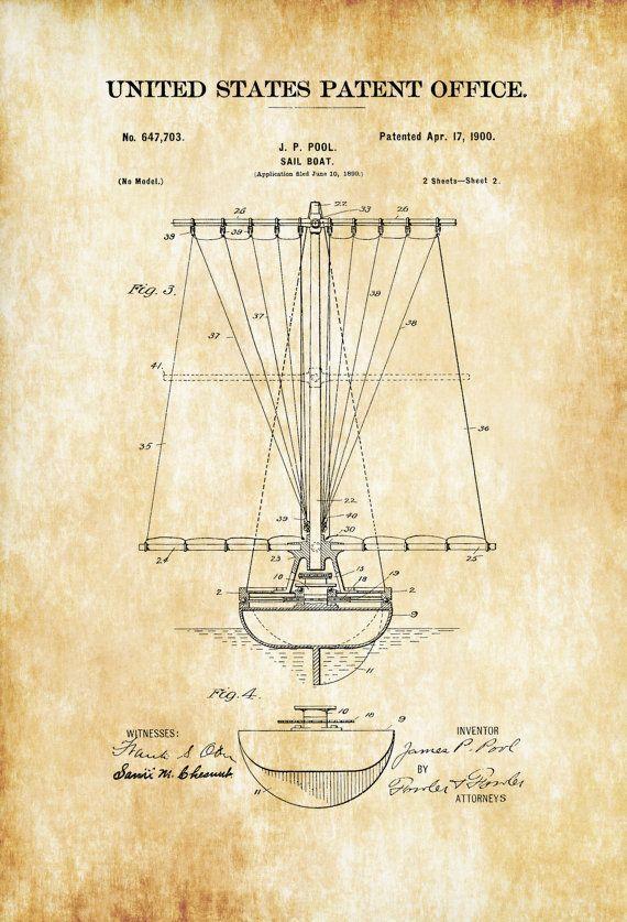 383 best vintage blueprints images on pinterest altered book art sail boat patent print 1900 vintage sailboat sailboat decor boat blueprint naval malvernweather Gallery