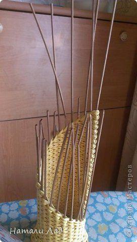 Мастер-класс Поделка изделие Плетение МК бутылочницы с цветочками Трубочки бумажные фото 26
