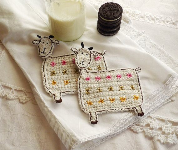 Two sweet goats for your coffee. by MonikaDesign on Etsy