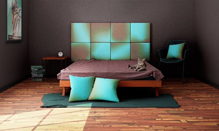 Headboard - upholstered modular wall panels OMBRE No. 2005 Deep Turquoise & Almond Brown by DesignPolski on Etsy