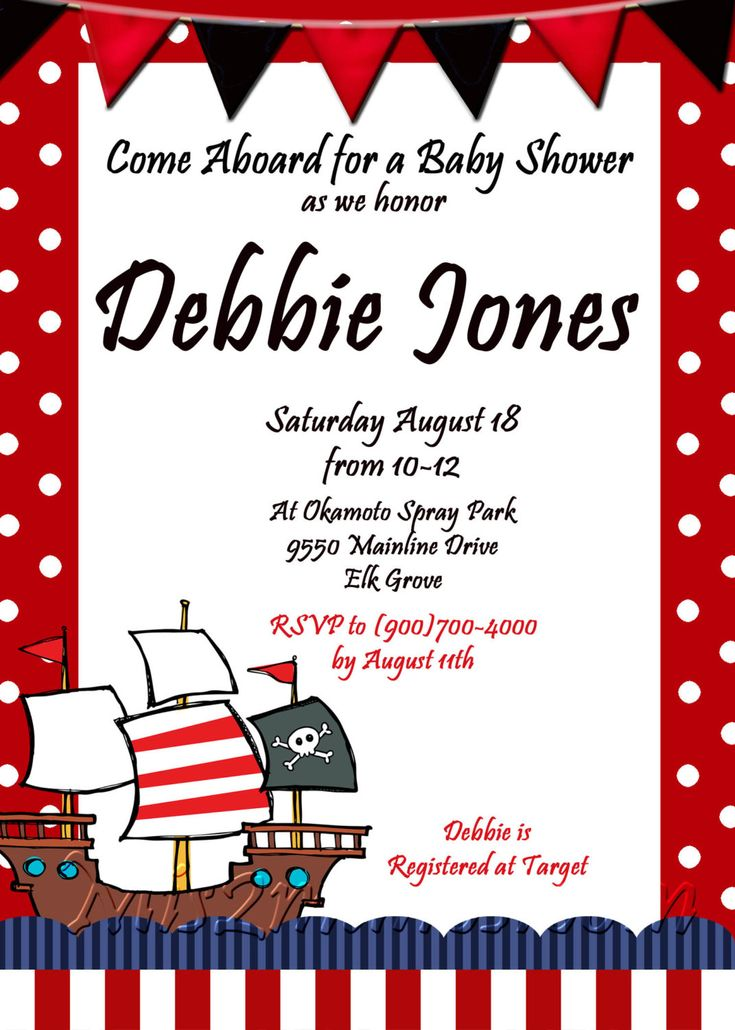 Pirate Baby Shower Invitations is an amazing ideas you had to choose for invitation design