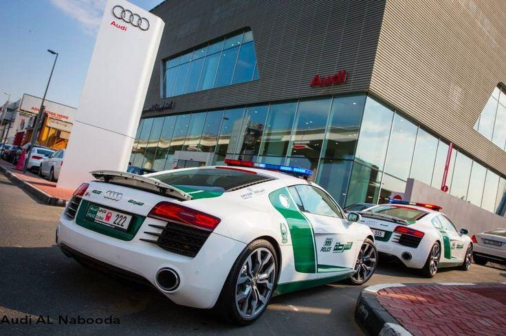 Audi R8 Dubai Police cars <3 Location: Al Nabooda Audi Dubai Showroom