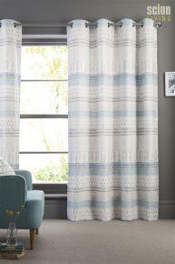 Scion Raita Blue Eyelet Curtains