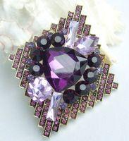 """Helenajewelry 2.95 """" золото-tone фиолетовый горный хрусталь хрустальный цветок брошь Pin подвеска брошь букет SMT06623C2"""