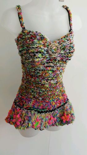 LOOM BAND dress with flowers. okay so I wouldn't wear this but this takes serious talent. #epic