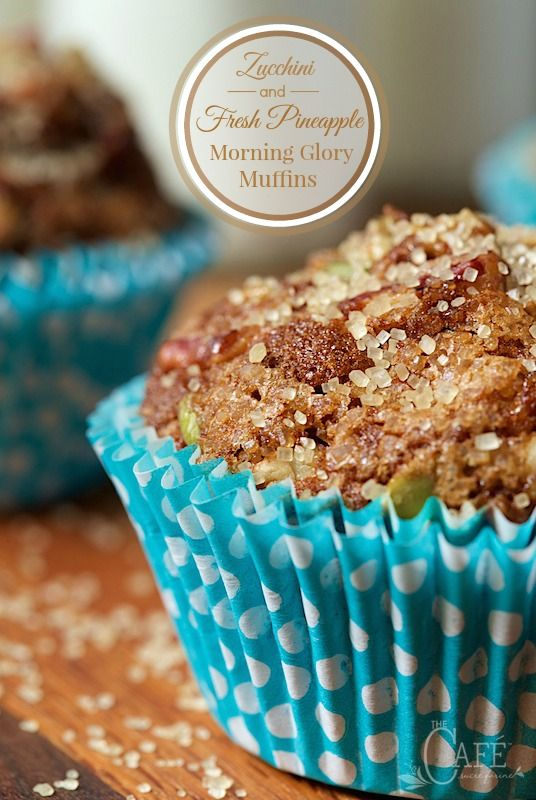 Zucchini and Fresh Pineapple Morning Glory Muffins - healthy muffins that are moist , easy to throw together and full of fabulous flavor. A great way to use up that plethora of zucchini!