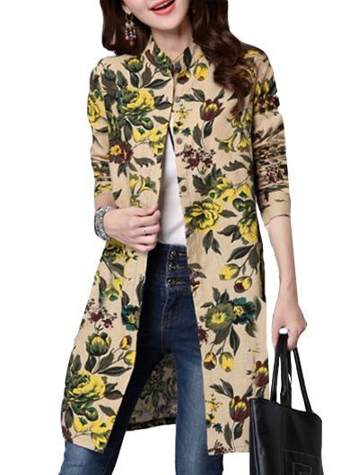 Long Sleeve Stand Collar Flower Print Shirt on sale only US$29.69 now, buy cheap Long Sleeve Stand Collar Flower Print Shirt at lulugal.com