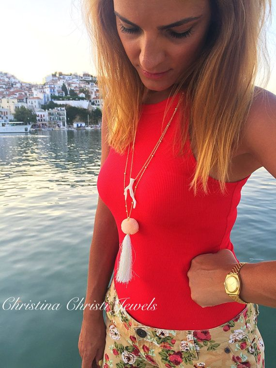 Handmade Necklaces Women White Shell by ChristinaChristiJls