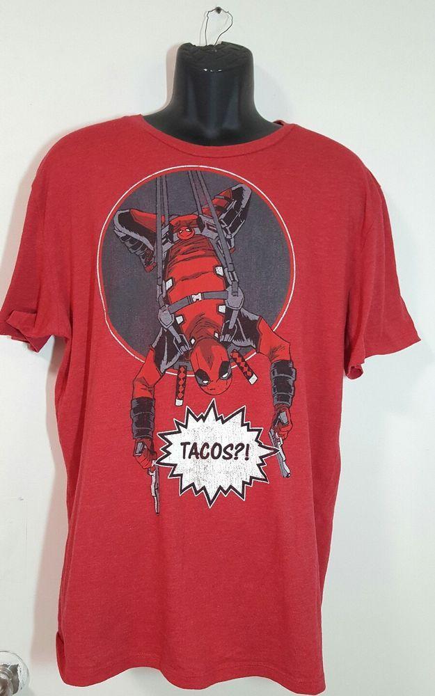Adult L tee Marvel Comics t-shirt Retro Deadpool Tacos Tee Shirt deadpool Tshirt #NoTags #GraphicTee