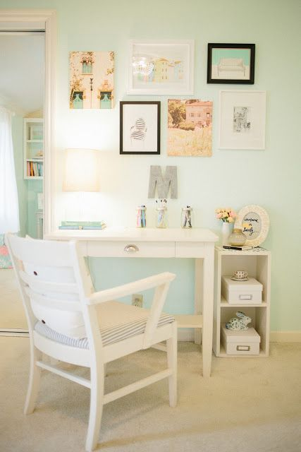 cute desk space...it would be cute to put that color under the desk and the walls would stay yellow..