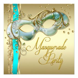 Partido azul do mascarada da cerceta de turquesa convite quadrado 13.35 x 13.35cm