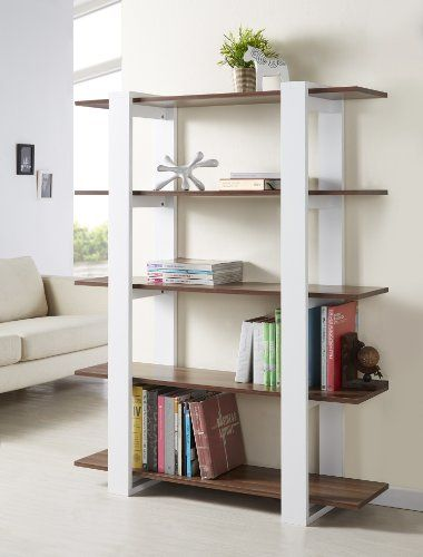 Cool IoHOMES Marcel 5 Shelves Display Stand White And Walnut