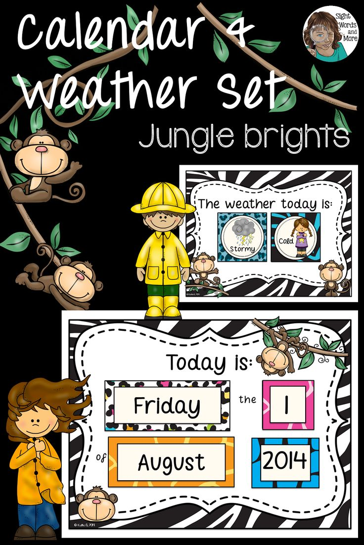 This Jungle Themed Calendar Set with a weather focus has been designed specifically for use with juniors (pre K to grade 2). Included are signs/posters for �Today is�, �Yesterday was�, �Tomorrow will be�, �The season�, �The weather today is�, �Days at school� and the appropriate cards to use with them.