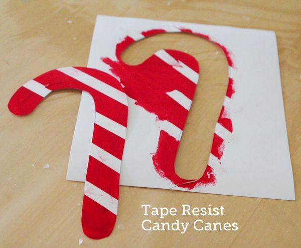 These tape resist candy canes are a great project for kids of all ages.  Hang 'em in your window, on your mantle or on your tree... My kids ask for this one every year!