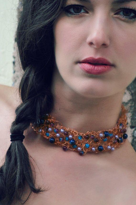 Collier de fil de cuivre or fait de perles de par BoutiqueAnnik