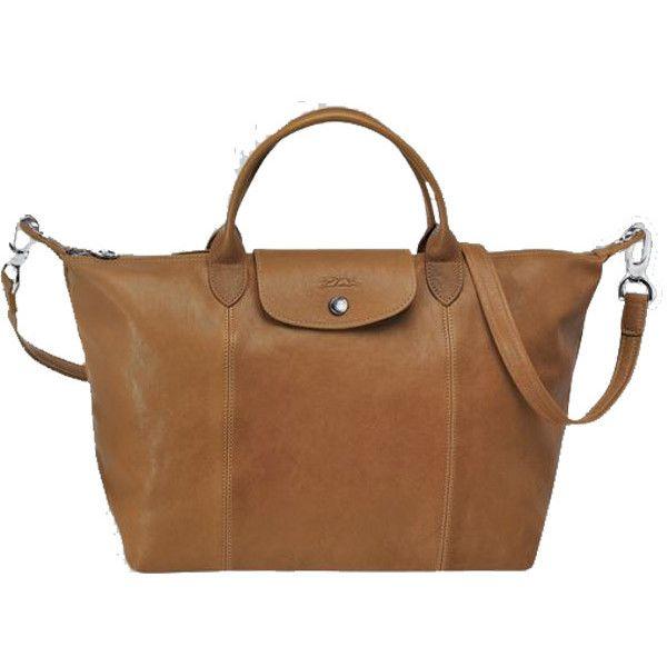 Longchamp Le Pliage Cuir Medium Handbag (10,310 MXN) ❤ liked on Polyvore featuring bags, handbags, natural, brown handbags, brown tote handbags, purse tote, man bag and utility tote