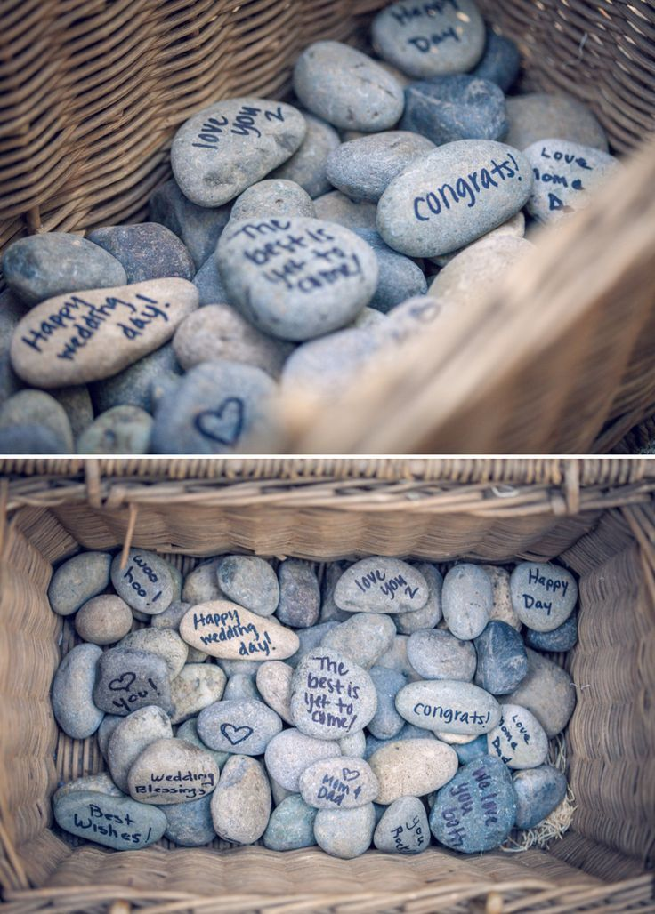 Students write a message on a rock as they come in and drop into a basket; then pick one out of the basket as leaving.