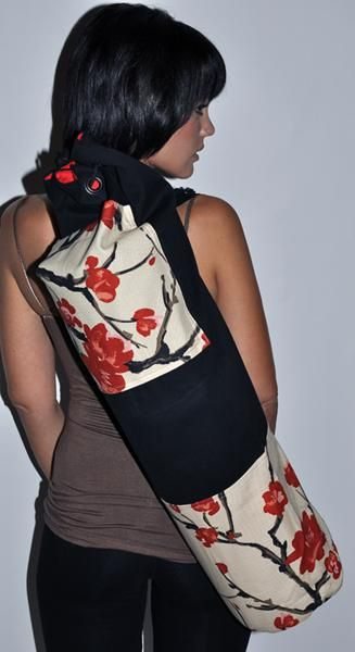 Cherry Blossom Yoga Mat Bag- Extra Large www.downdogboutique.com  #YogaBags #YogaAccessories #Yoga