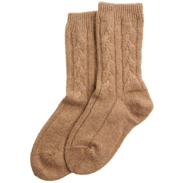 Beige cashmere socks ($115) ❤ liked on Polyvore featuring intimates, hosiery, socks, accessories, shoes, gifts under 100, beige socks, cable socks, cashmere socks and bamford