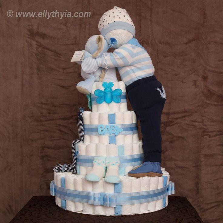 Blue Elephant and Baby Boy Diaper Cake