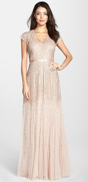 ADRIANNA PAPELL SHORT SLEEVE BEADED MESH BLUSH GOWN DRESS sz 16 #AdriannaPapell #GOWN #Formal