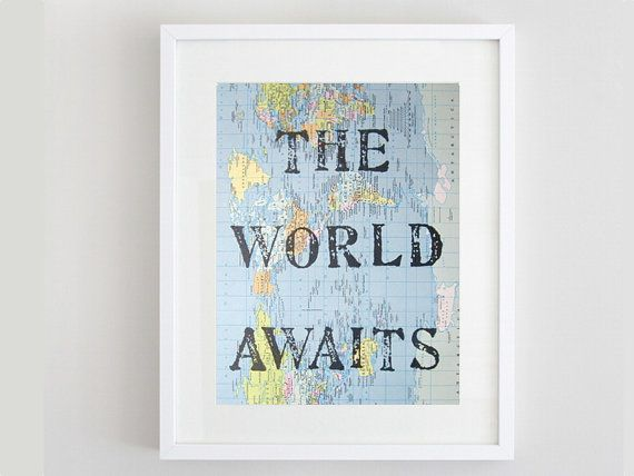 The World Awaits, Vintage Map Unique Print, Map Gift, Map Art, Travel Theme, Destination Wedding, Nursery Art, Map Print on Etsy, $16.50