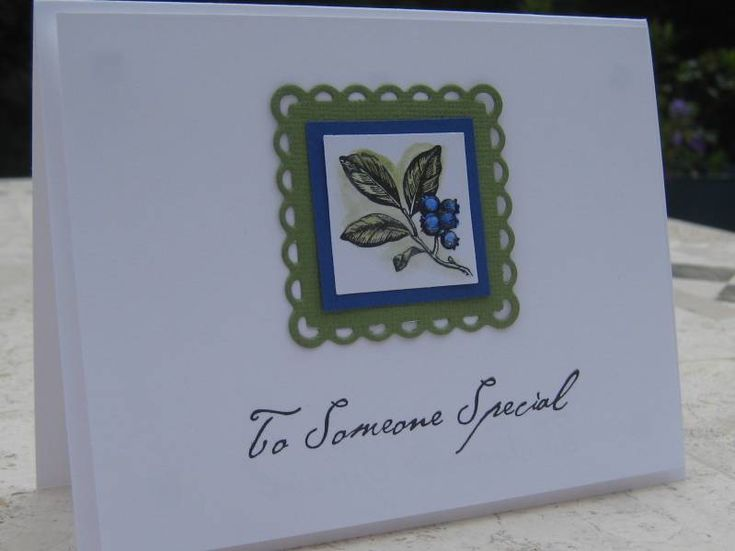 Stamps: SU Botanicals Paper: Conqueror White, scraps Ink: black, blue and green markers, watercolor pen Accessories: Glossy Accents (on top of blueberries), Lifestyle Crafts square scallop die