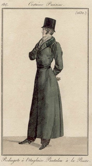 """Men's """"English-style"""" redingote and """"Russian-style"""" pantaloons, 1817."""