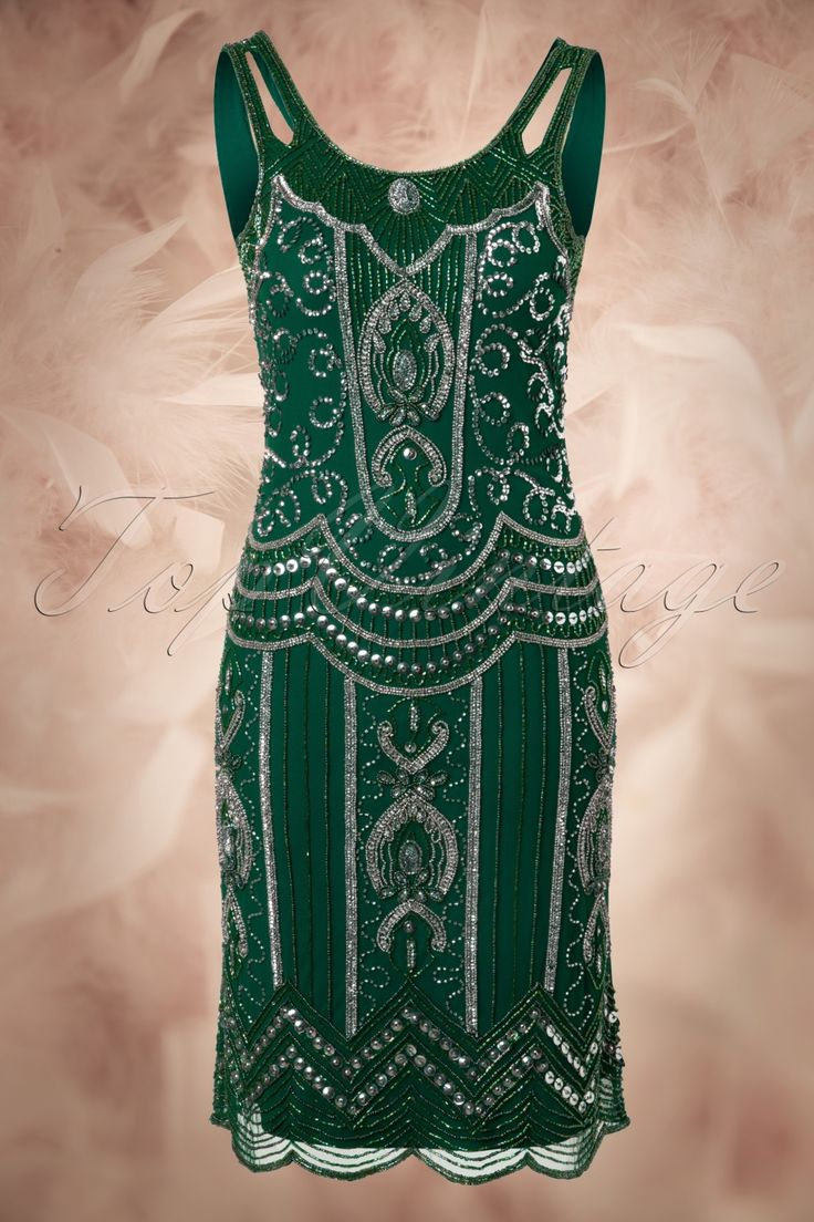 Frock and Frill - 20s Ziegfeld Flapper Dress in Emerald Green