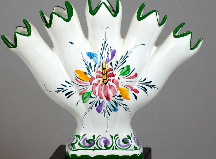 Vintage Portuguese Rccl Pottery Hand Painted Floral Spill