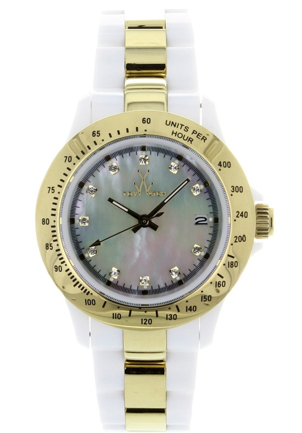 Price:$130.50 #watches ToyWatch HM09WHGD, Plastic case, Plastic bracelet, Mother of Pearl dial, Quartz movement, Scratch-resistant mineral, Water resistant up to 5 ATM - 50 meters - 165 feet