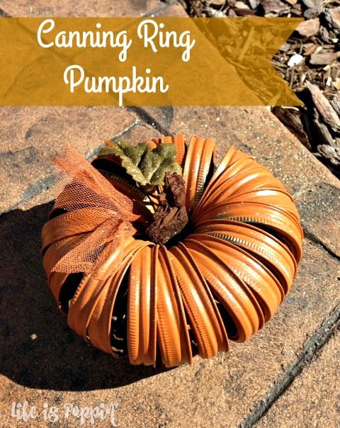 Do not throw all of those leftover canning lids in the trash. How about making these super cute Canning Ring Pumpkins instead?