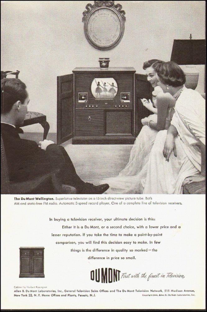 """1950 vintage TV AD, Du Mont 15"""" Television Phonograph Console  (081514)"""