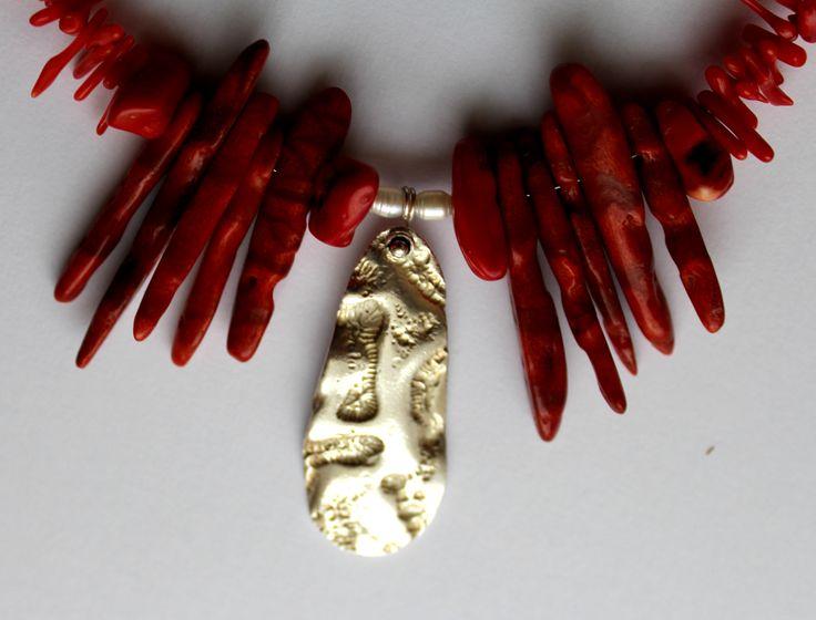 Necklace, Silver ACS, coral, pearls exhibition Větvení 2017