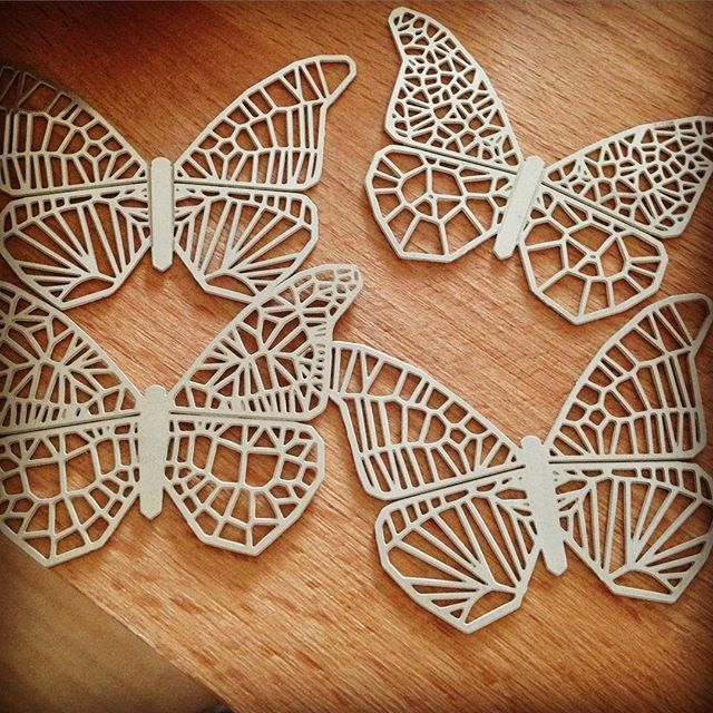 Some silver delights being prepared today for a special job...#butterflies #silver #etching #making #design #voronoi #pattern #handfinished #generativedesign