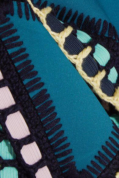 Kiini - Flor Crochet-trimmed Triangle Bikini Top - Emerald - x large