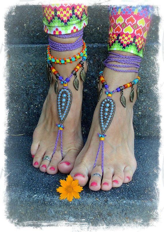 Tribal Indie BAREFOOT Sandals Ankle wrap sandal LEAF Toe Thongs crochet Gypsy Sandals Wanderlust PURPLE Barefoot Wedding bare feet GPyoga on Etsy, $89.00