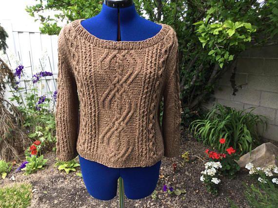 Cropped Aran sweater