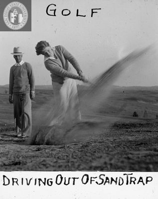 Driving out of sand trap, 1935