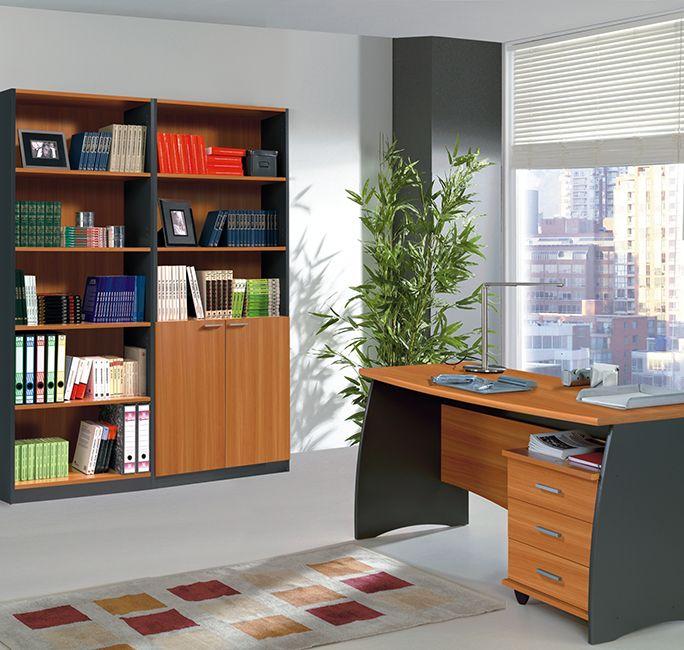 Mesa de oficina, estudio y despacho fabricada en España. Incorpora buc con 3 cajones.De gran calidad y elegancia. Dos estanterías de 200 cm cada una.http://www.mueblesbonitos.com/muebles-oficina.html