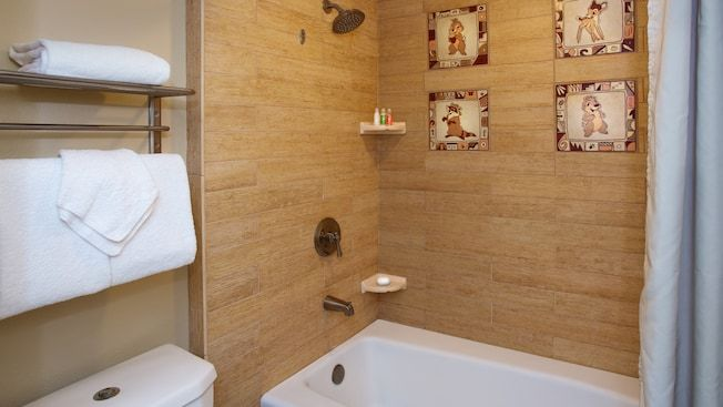 Bathroom in a guest room at Disney's Wilderness Lodge